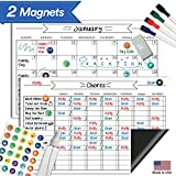 "Magnetic Behavior Rewards Chore Chart Set – Multiple Kid Chore Chart System w/Reusable Monthly Calendar, Responsibility Magnets & Dry Erase Refrigerator Reward Incentive – 17"" x 11"""