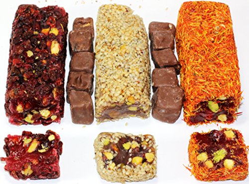 Turkish Delights Pistachio Mix Deluxe covered with Saffron Chocolate Berries and Sesame 1.2 Lbs