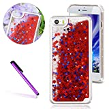 iPhone 5 SE Case, iPhone 5S Cover,EMAXELER 3D Creative Design Flowing Liquid Floating Bling Shiny Liquid Quicksand Polycarbonate Hard Case for iPhone 5/5S + Stylus Pen(Star:Red)