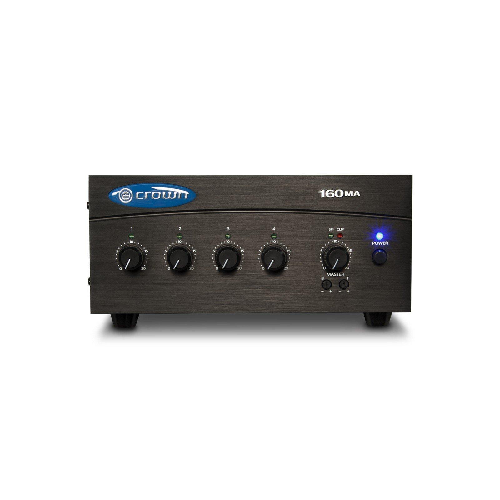 Crown 160MA   4 Input 60 Watt Commercial Audio Vox Muting Dual Stereo RCA Phoenix Inputs Powered Mixer Amp