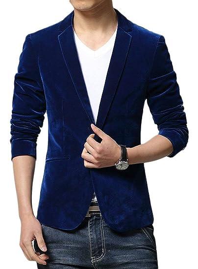 BoBoLily Chaqueta De Terciopelo para Hombres Blazer Formal 1 Traje De Diseño De Botones Chaqueta De Velo Elegante De Moda Chaquetas De Traje Slim Fit ...