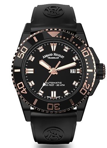 Reloj Armand Nicolet JS9 Automatic Diver Tono DLC Rose Gold Negro A480AQS-NS-GG4710N: Amazon.es: Relojes