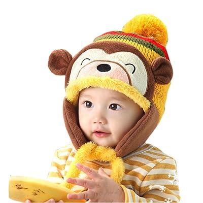 CieKen Knitting Wool Beanie Hat for Cute Baby Girl Boy, Ear Thick Knit Beanie Cap Winter Warm Soft Toddler Infant Cap
