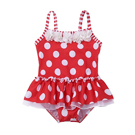 2754b23da2 Agoky Baby Girls Toddler One-Piece Polka Dots Swimsuit Swimwear Skirt Bathing  Suit Red 2