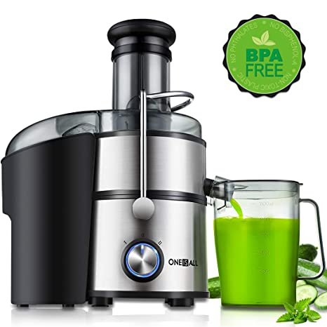 """Juicer, Oneisall Juice Extractor 800W Easy to Clean Extractor Press Centrifugal Juicer Machine, Wide 3"""" Feed Chute for Whole Fruit Vegetable, ..."""