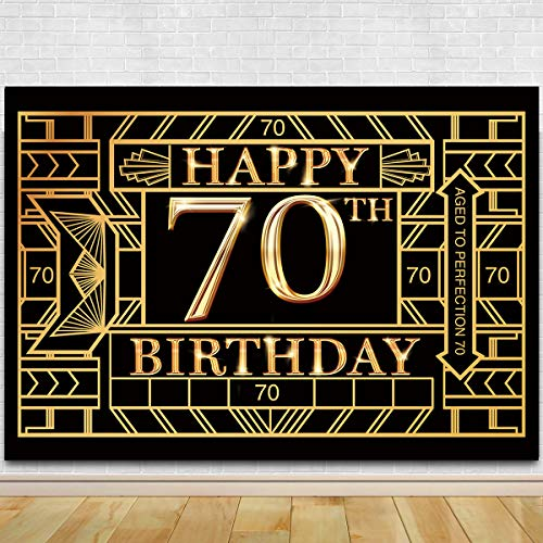 Great Gatsby Birthday (70th Birthday Photography Backdrop - Great Gatsby Seventy Birthday Photography Background - 70th Birthday Black Gold Party)