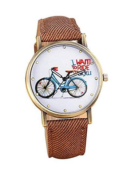 Para mujer para bicicleta reloj, poto jy-15 2017 nueva bicicleta de bicicleta Denim analógico reloj de cuarzo: Amazon.es: Relojes