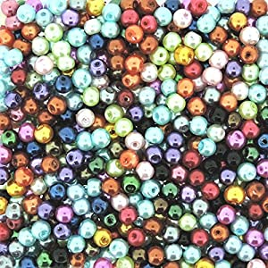 Beads Direct USA's Glass Pearls Mix 800pcs Tiny Round Glass Pearls 4mm Assorted Color Mix