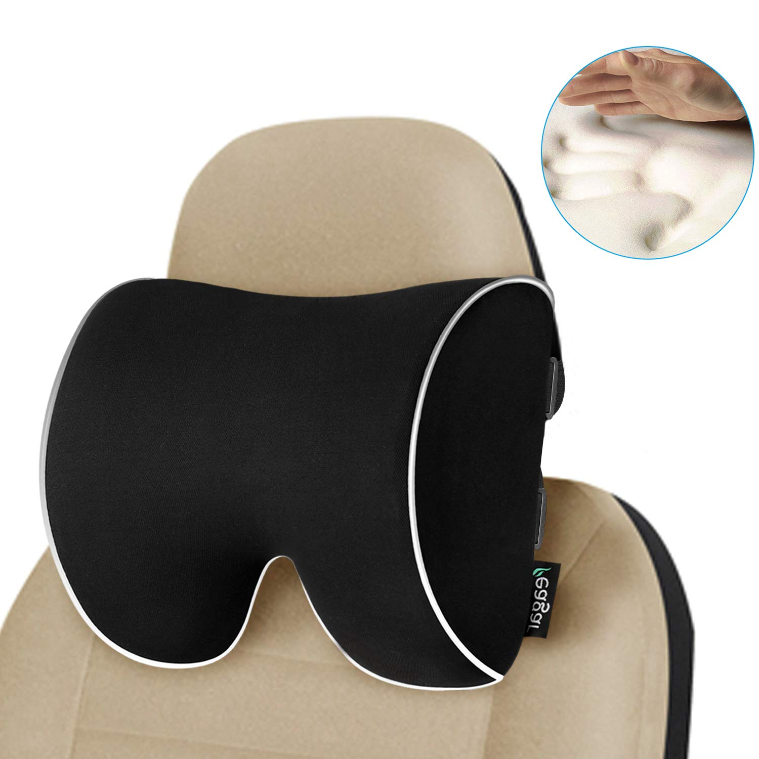 Feagar Car Seat Neck Pillow, Memory Foam Headrest Cushion for Driver Head, Cervical Support - Ergonomic, with 2 Adjustable Straps and Washable Cover- Driving Neck Pain Relief (Black Car Neck Pillow) by Feagar (Image #1)