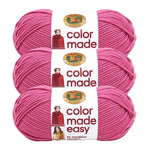 (3 Pack) Lion Brand Yarn 195-141G Color Made Easy Yarn, Pink Lemonade