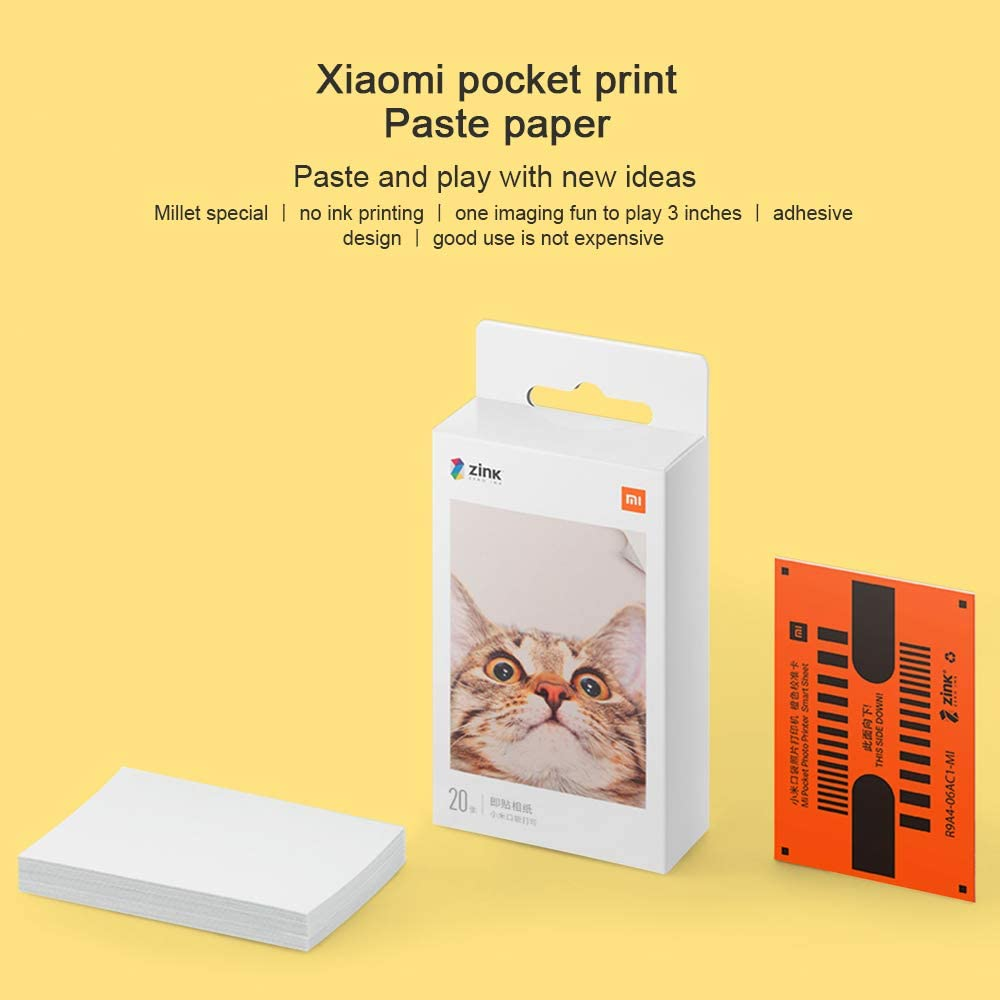 Impresora Fotográfica Portátil,para Xiaomi Mijia Impresora Fotográfica Inalámbric,Impresión Sin Tinta,AR Fotos,Compartir Bluetooth,5 x 7.6 cm,313 x 400 PPP,para Viaje,Cenas,Fiestas,Regalos (20 Paper)