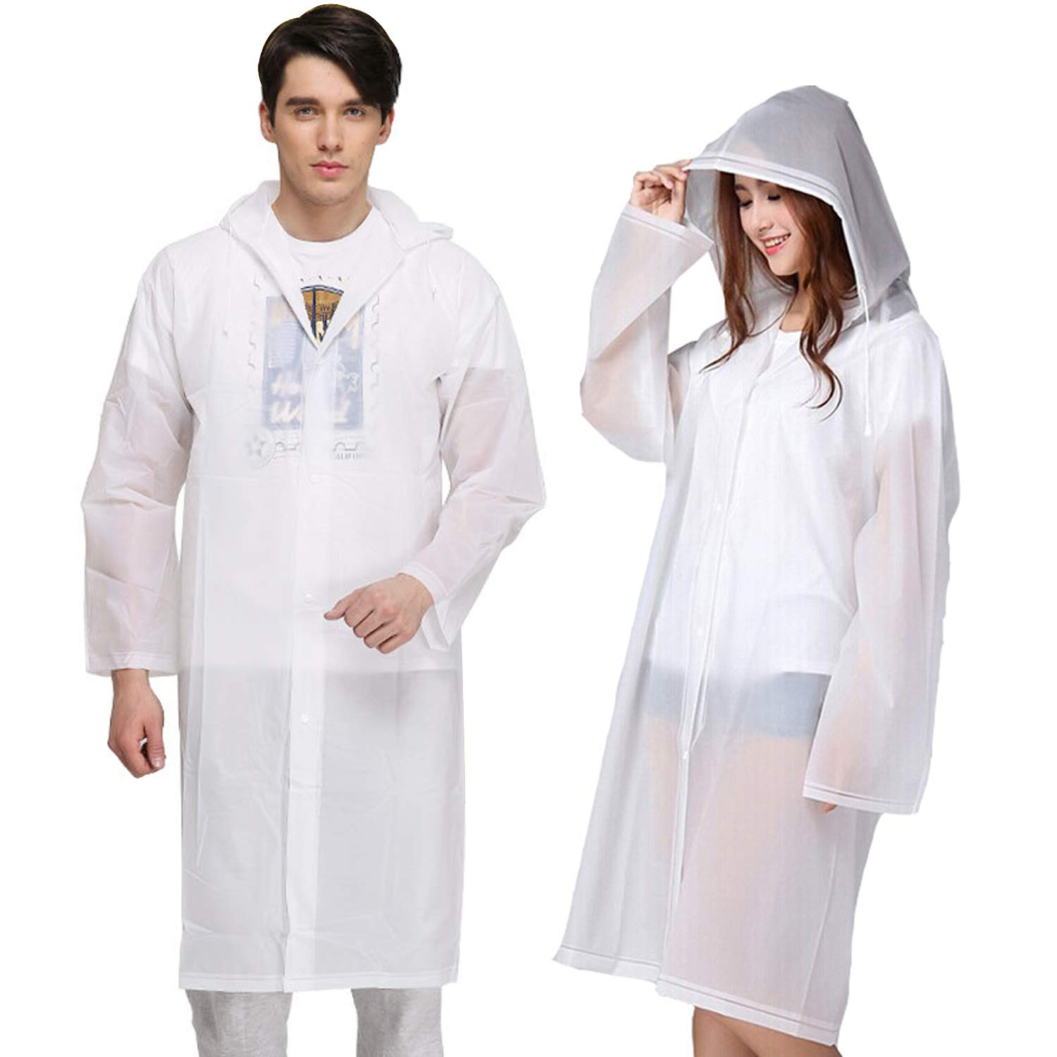 KKTICK Rain Poncho for Adults, Reusable Raincoat with Hoods, Sleeves and Buttons, Thicken Waterproof Men Women Clear Ponchos for Outdoors, Theme Parks, Hiking, Camping, School Sporting - 2 Pack by KKTICK