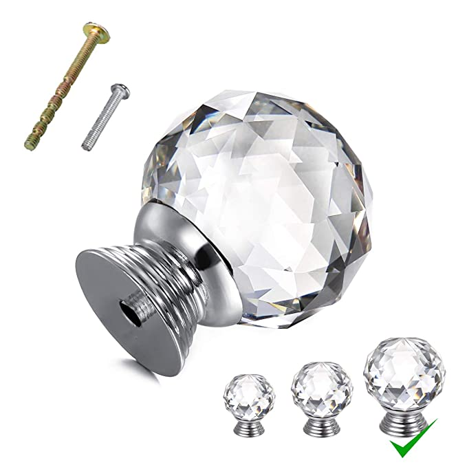OTTFF 10 Pack Big Size 1.5x1.9inch Glass Cabinet Knob Clear Dresser Knobs Handle for Furniture Kitchen Cupboard Drawer Dresser Pull, Weight 100g - Crystal Dia. 40mm