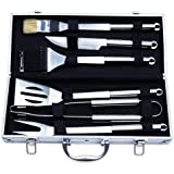 edealing BBQ Tools Set, 6-Piece Barbecue Grill Tools Kit, Heavy Duty Grilling Utensils, Premium Grilling Accessories for Outdoor/Indoor - Spatula, Tong, Fork, Knife, Grill Brush, and Basting Brush