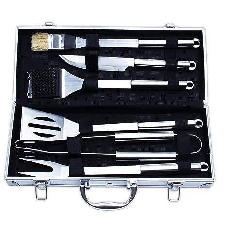 Juego de herramientas para barbacoa, kit de herramientas para barbacoa de 6 piezas, utensilios para asar resistentes, accesorios de asado de primera ...