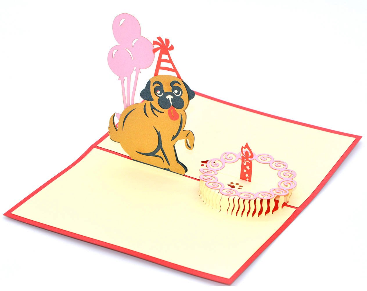 """biglietto d/'auguri di compleanno con scritta in inglese /""""Happy Birthday/"""" e motivo carino con cane e torta Medigy"""