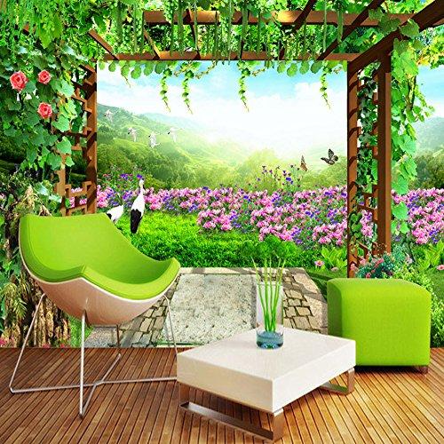 Lwcx Nature Landscape Green Grape Vine Flowers Butterfly Photo Mural Living Room Bedroom Wall Decor Non-Woven Customize 3D Wallpaper F 350X245CM
