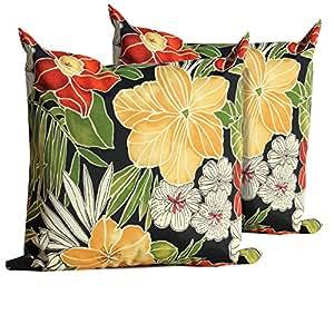 Negro Flores al aire libre manta almohadas cuadrado Set de 2