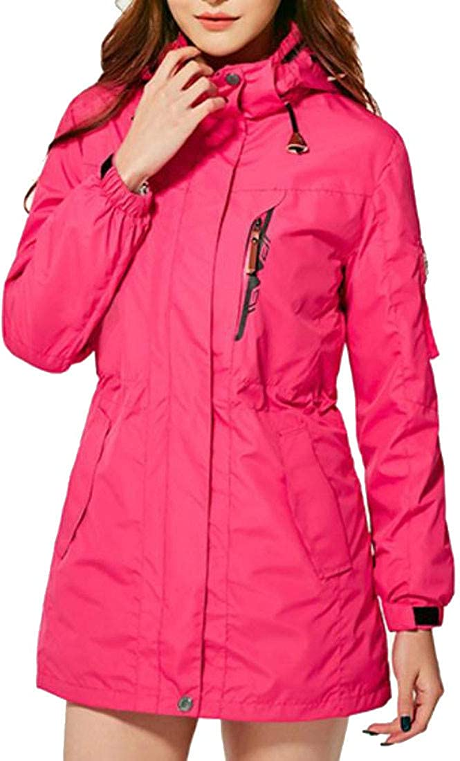 Easonp Womens Windbreaker Hiking Workout Ski 3-in-1 Thicken Winter Raincoat Jacket