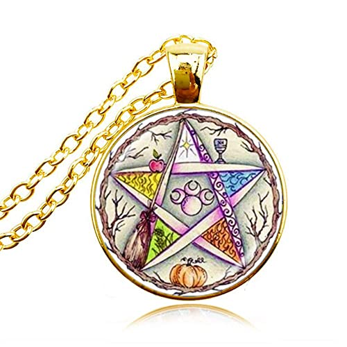 b2e7d329f98fe Amazon.com: Five Elements Pentagram Necklace Pentacle Jewelry Wiccan Pagan  Paganism Disk Magic Five Pointed Star Amulet Earth Air Spirit Water Fire  Coexist ...