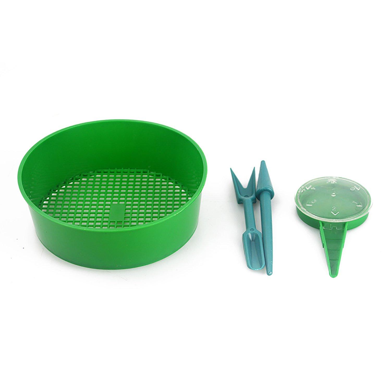 erozy 4-Pack Garden Hand Tool Sets - Sowing Seeds Dispenser, Seedlings Dibber, Widger, Mesh Garden Sieve