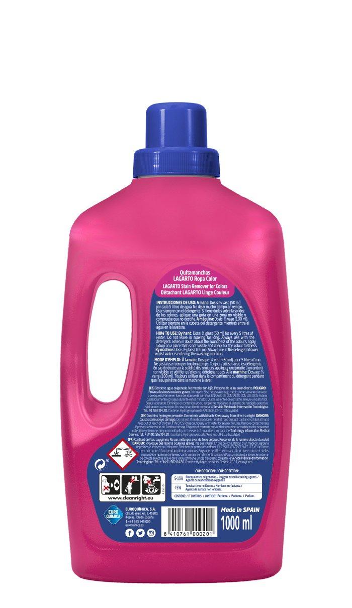 Lagarto Quitamanchas Liquido Ropa Color - Paquete de 10 x 1000 ml - Total: 10000 ml