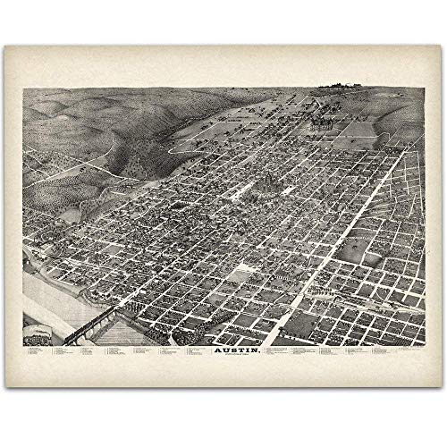 1887 Austin Texas Panoramic Map - 11x14 Unframed Art Print - Great Vintage Home Decor Under $15