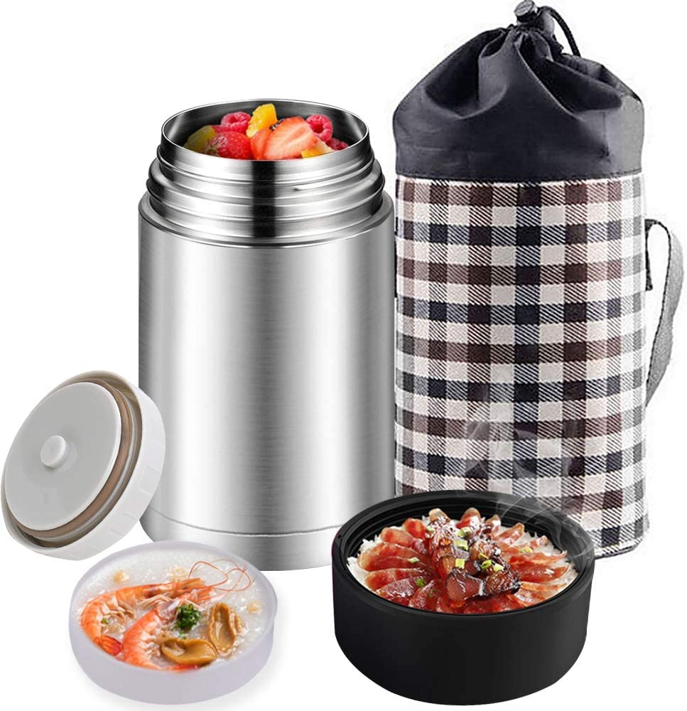 Food Jar 33 oz Food Soup Thermos with Adjustable Handle Lid Leak Proof Vacuum Insulated Lunch Containers Stainless Steel Food Flask with Lunch Bag (Sliver)