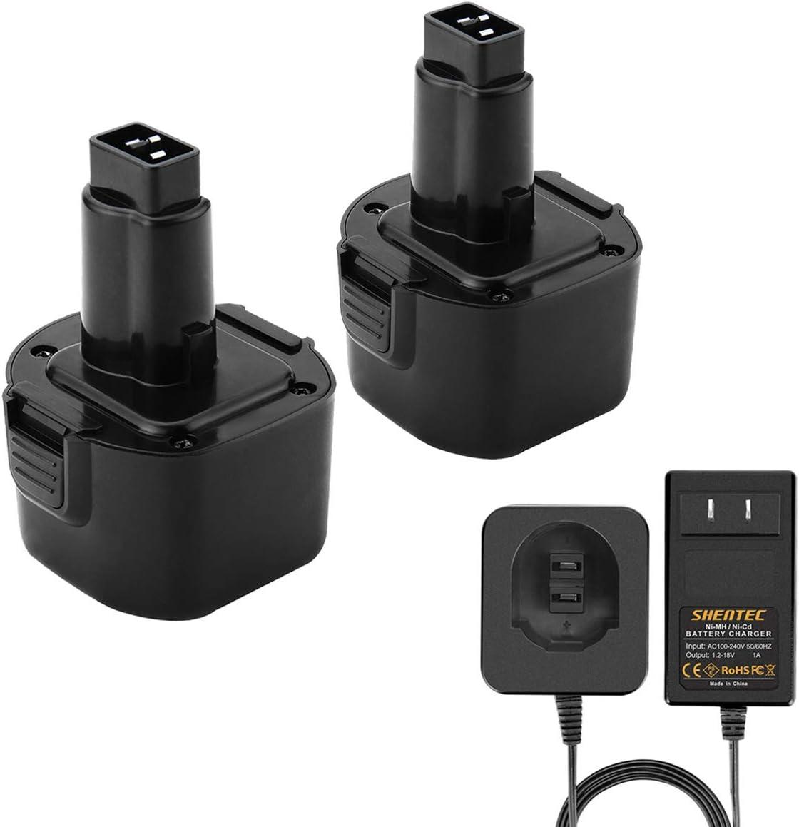 Shentec 2 Pack 9.6V 3.0Ah Battery Compatible with Dewalt 9.6V DW9062 DW9061 DE9036 DE9061 DE9062 DW9614 DW050 and Black & Decker PS120 Fire Storm Replacement Battery Ni-MH(Battery Charger Included)