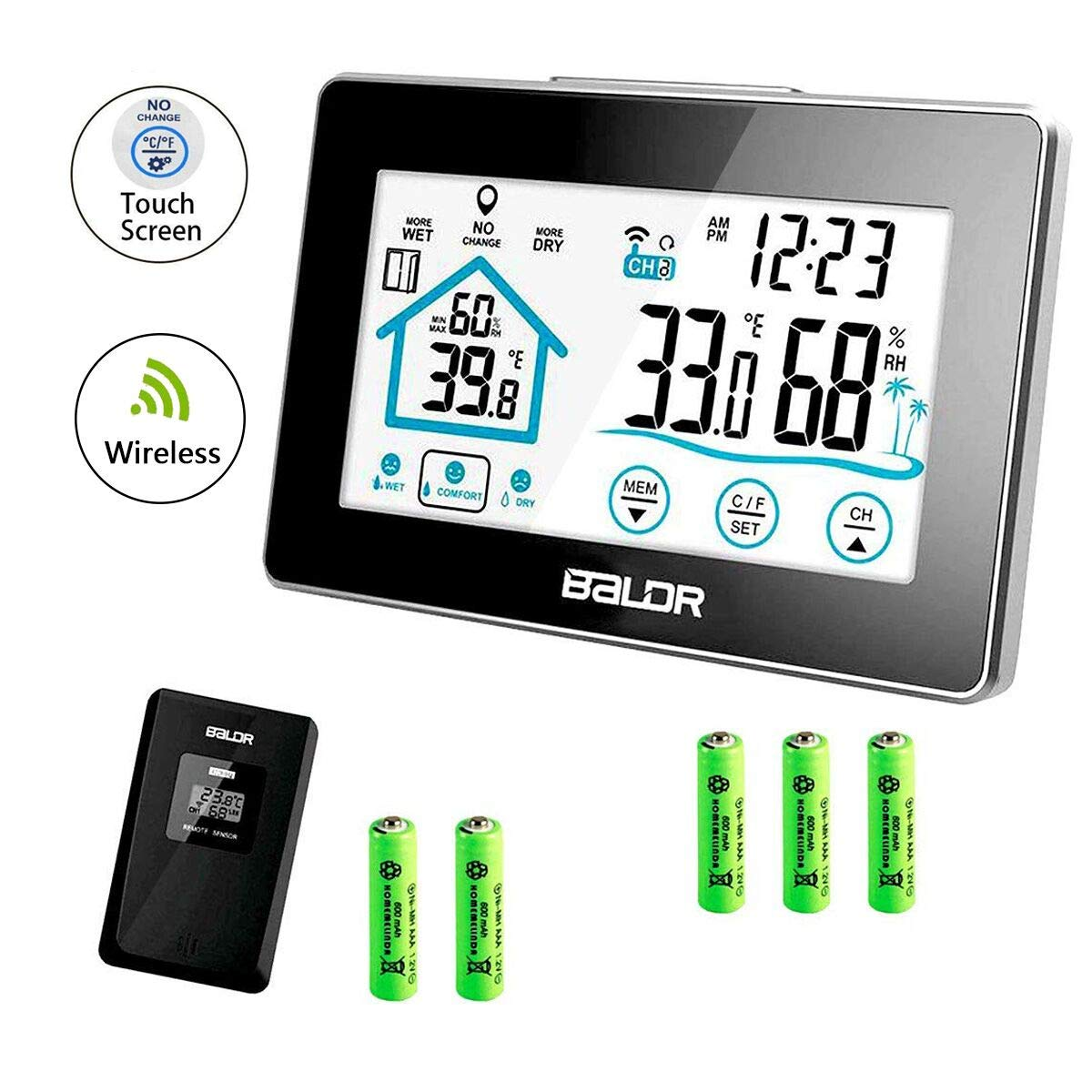 Digital Hygrometer Thermometer Humidity Meter, Wireless Weather Station Window Forecast Outdoor Indoor Temperature Gauge Relative Remote Sensor, Touch Screen Batteries (Included) Operated Temp Monitor