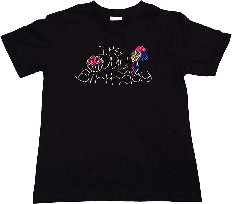 """Unisex Rhinestone T-shirt /"""" It/'s my Birthday Cupcake and Balloons /"""" Women/'s"""