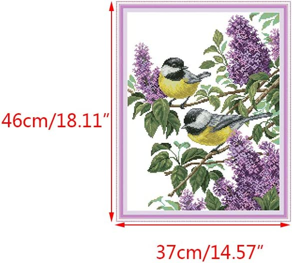 Kweeniny Birds DIY Handmade Needlework Counted 14CT Printed Cross Stitch Embroidery Kit Art Supplies