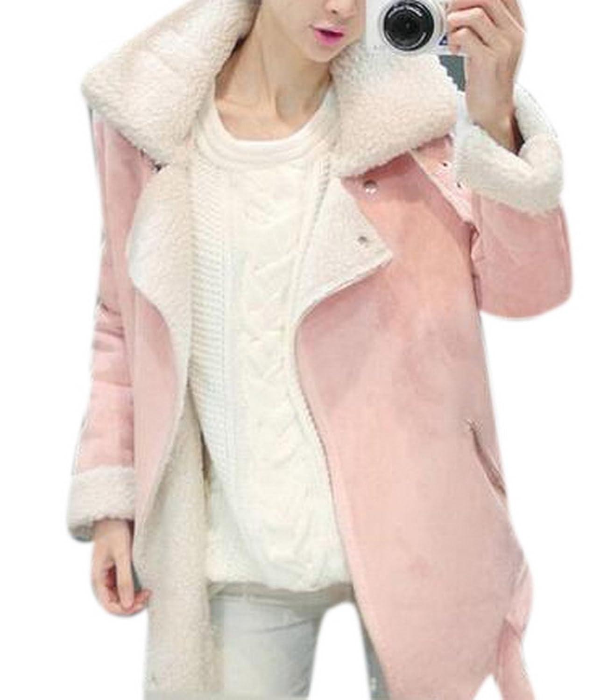 Lingswallow Women's Winter Pink Long Thicken Faux Suede Lamb Wool Jacket Coat
