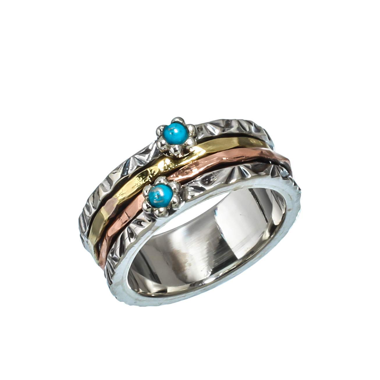 Kanika Jewelry Trove Sleeping Beauty Turquoise Vintage Style Sterling Silver Jewelry Spinner Ring