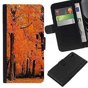 KingStore / Leather Etui en cuir / Sony Xperia Z2 D6502 / Naturaleza Orange maderas