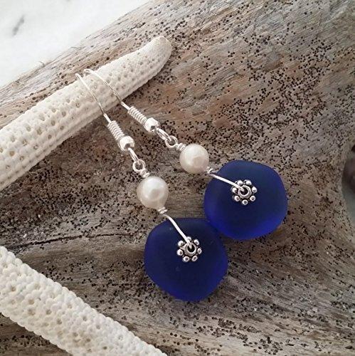 Handmade jewelry in Hawaii,cobalt blue sea glass earrings, fresh water pearl, sterling silver hooks, Hawaiian Gift, FREE gift wrap, FREE gift message, FREE shipping