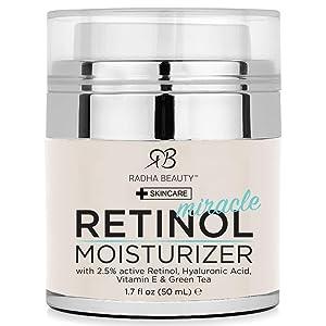 Radha Beauty Retinol Moisturizer Miracle Cream for Face - with Retinol, Hyaluronic Acid, Vitamin E and Green Tea. Best Night and Day Moisturizing Cream 1.7 fl oz.
