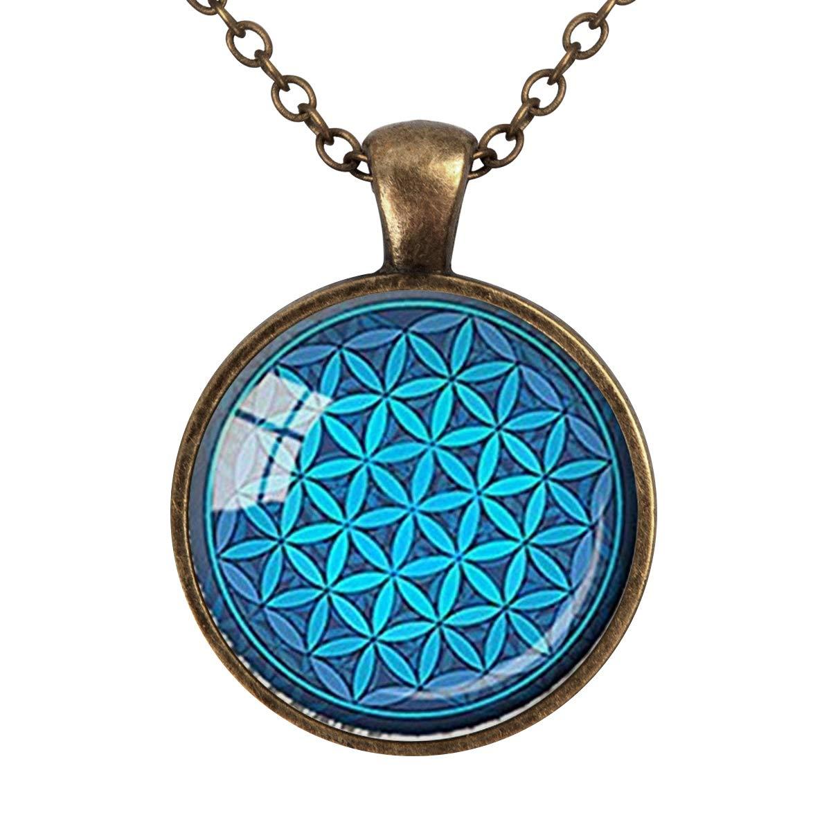 Vintage OM Flower of Life Cabochon Glass Bronze Chain Pendant Necklace