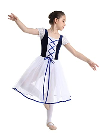 Freebily Vestido Maillot de Danza Ballet Tutú para Niña (3-12 Años) Vestido de Princesa Fiesta Actuación
