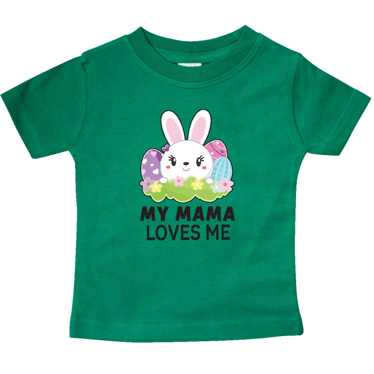 inktastic My Mama Loves Me with Bunny and Easter Eggs Baby T-Shirt