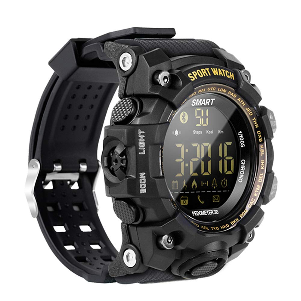 EX16S Rugged Outdoor Sports Smart Watch with Bluetooth Activity Tracker Pedometer Steps Caloires DistanceStopwatch 50M Waterproof for Running Walking ...
