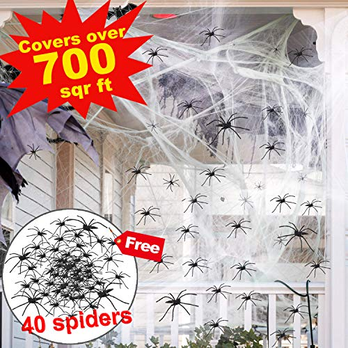 Halloween Decoration Clearance Giant Spider Web Outdoor Large Mega Super Stretch 700 Sq Ft Cobweb with Scary 40 Black Spider Party Supplies Window Door Outdoor Yard Garden Haunted Home House Décor
