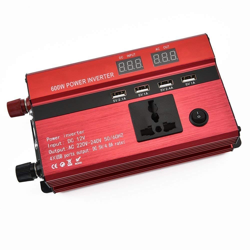 Kabel Autobatterieclips Tellunow 600W Wechselrichter DC12V auf AC230V Spanungwandler Konverter mit 2 EU Steckdose 2.1A USB Port