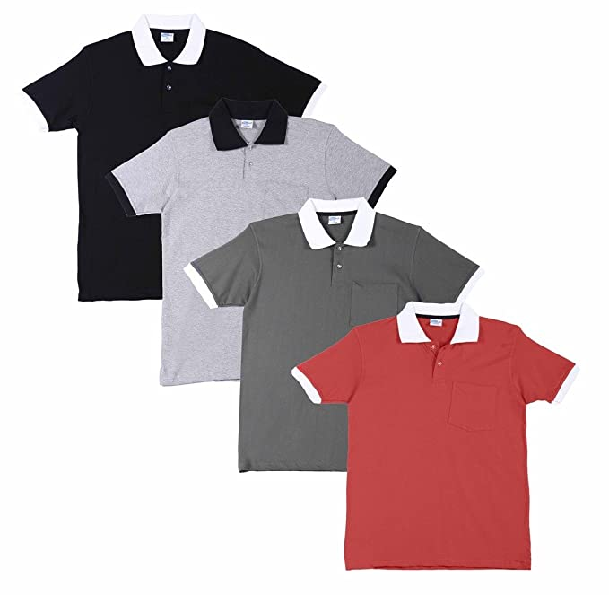 3eb96b862ce FLEXIMAA Men s Cotton Polo Collar T-Shirts with Pocket Opposite Color Collar    Cuff (Pack of 4) - Black