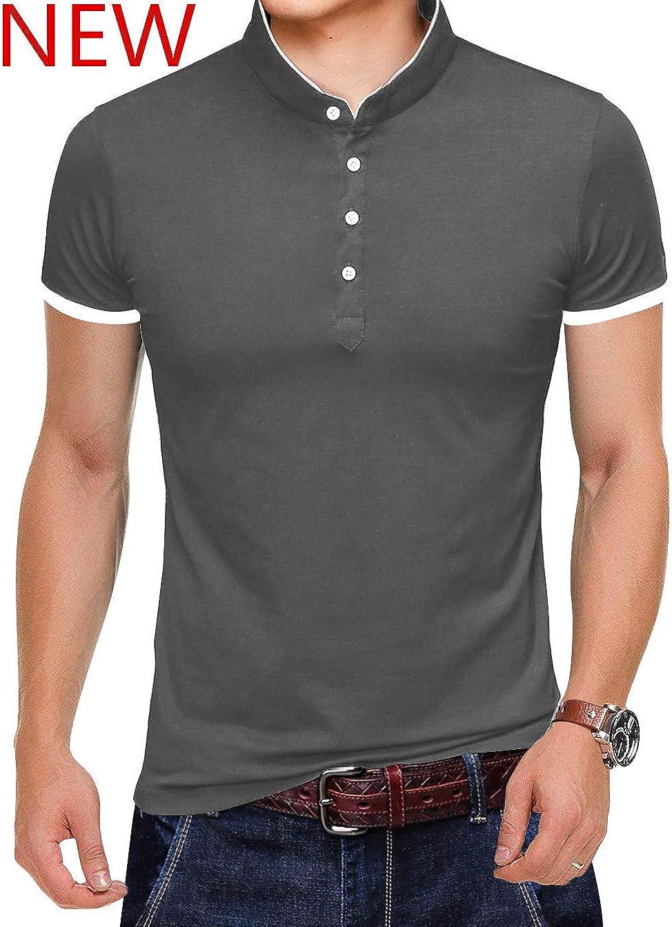 KUYIGO Men/'s Casual Slim Fit Shirts Pure Color Short Sleeve Polo Fashion T-Shirts