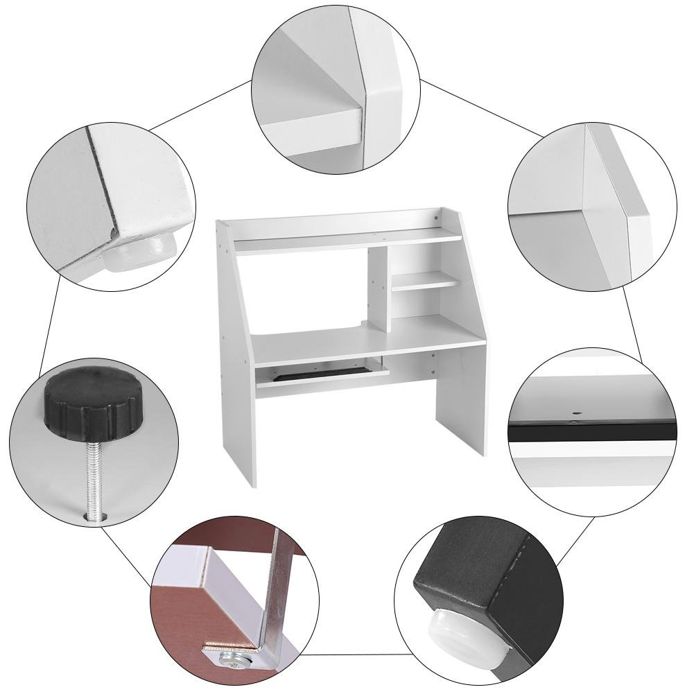 Dwawoo Wooden Storage Shelf, Multifunction Bed Computer Laptop Desk Bed Table for Dormitory Bedroom and More(White) by Dwawoo (Image #6)
