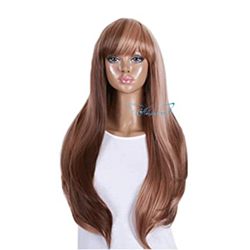Angelaicos Womens Two Tone Color Block Fashion Top Design Highlights Healthy Neat Bangs Natural Hair Full