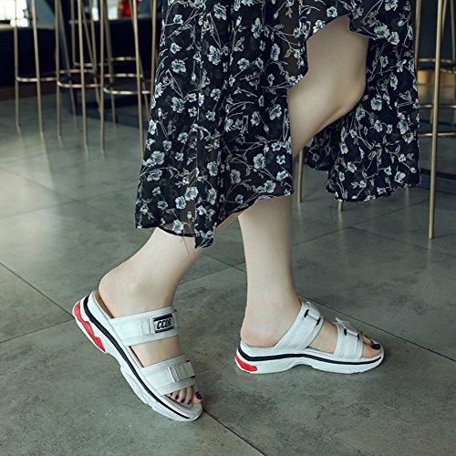Sport Sandale Durchgängig Zehen Klettverschluss Weiß Aisun Damen Plateau Keilabsatz Offene A88wg0qR