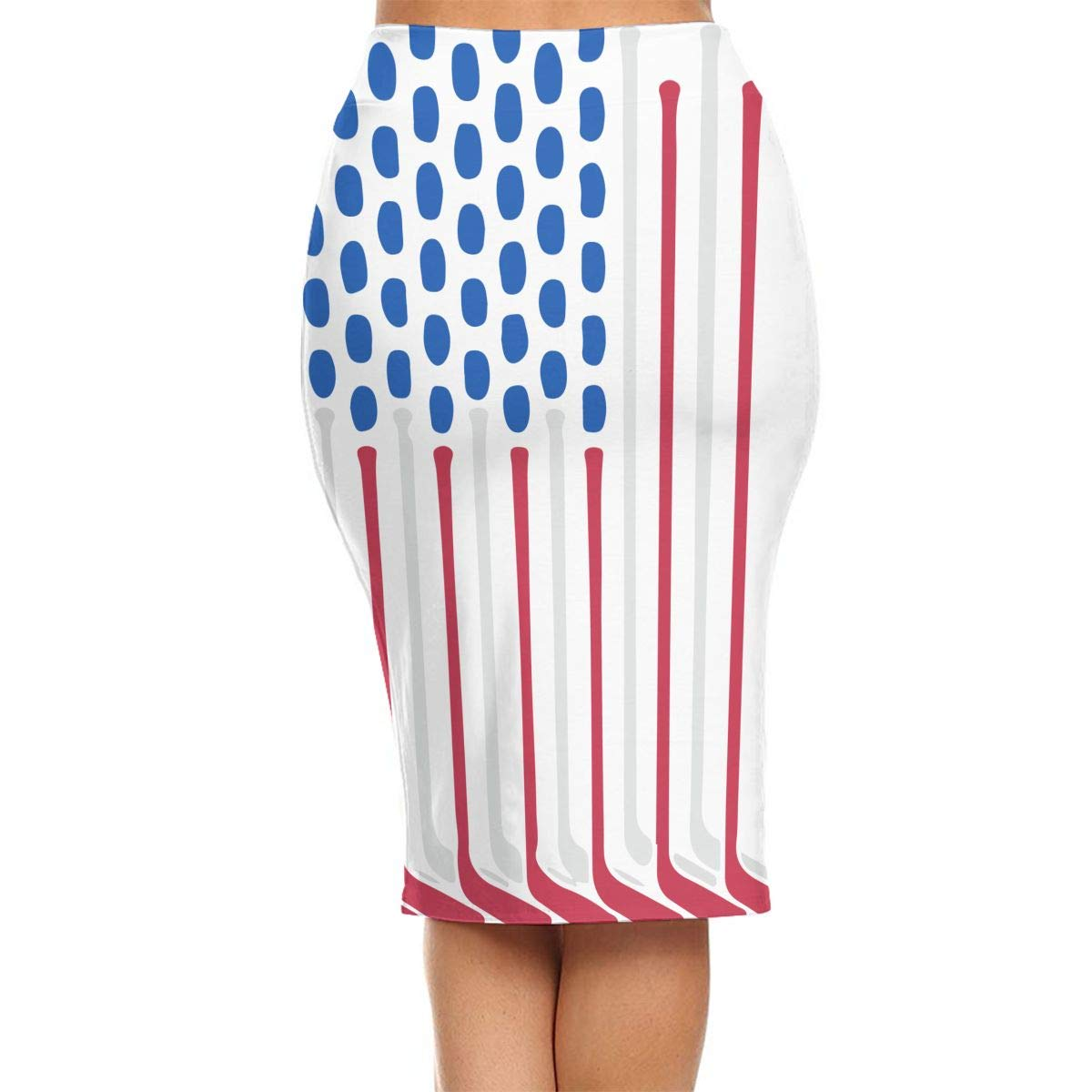 Amazon.com: ZSJRH-M Womens Sexy Slim Mid Skirt Flag Made with Hockey High Waist Bodycon Pencil Knee Length Skirt Package Hip Skirt: Clothing