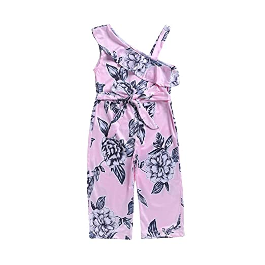 94aa295dfd NUWFOR Toddler Baby Girls Floral Straps Off Shoulder Romper Playsuit  Ruffles Clothes(Pink